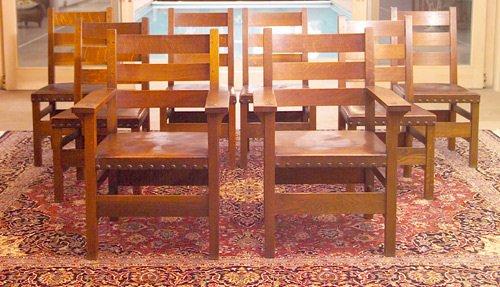6: GUSTAV STICKLEY Set of eight ladderback chairs (#349