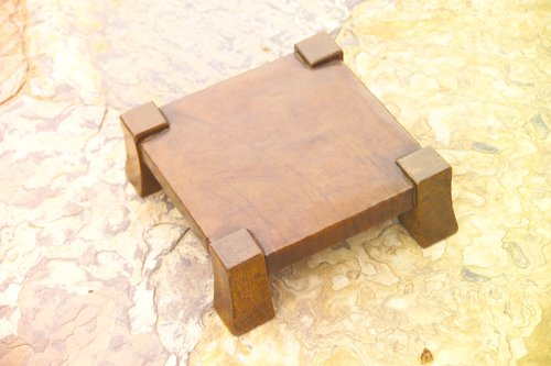 10: GUSTAV STICKLEY Gout stool with flaring legs and ex