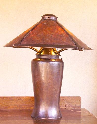 "11: DIRK VAN ERP Large hammered copper ""Milk Can"" table"