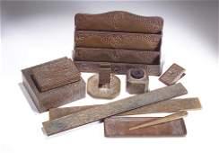 151: TIFFANY STUDIOS Assembled ten-piece bronze desk se