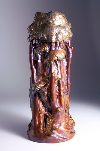 266: ZSOLNAY Tall and elaborate vase with a doe peeking