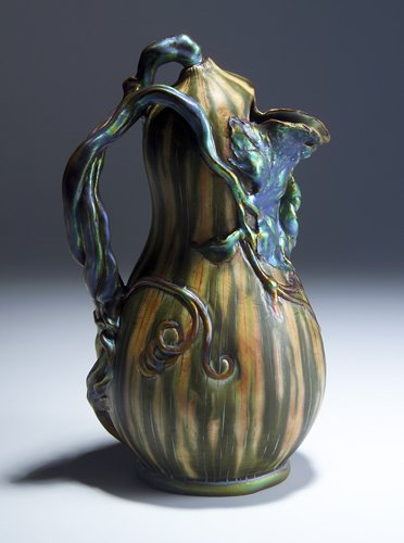 267: ZSOLNAY Gourd-shaped pitcher with modeled vine han