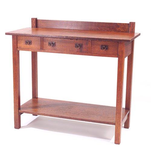 501: ONONDAGA SHOPS Server with three drawers, hammered