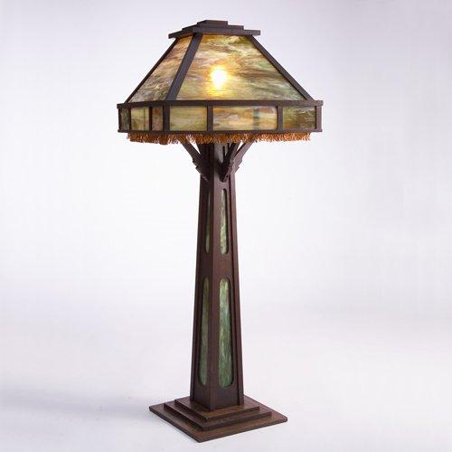 504: ARTS & CRAFTS Large floor lamp with green slag gla