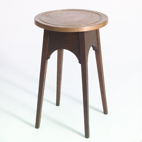 508: STICKLEY Drink stand with copper top, arched apron