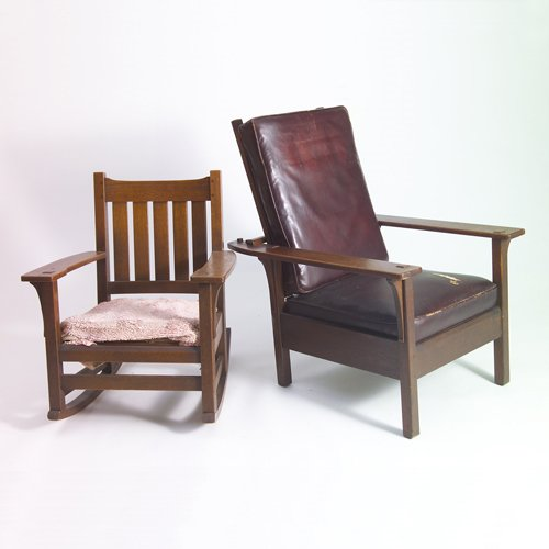 515: L. & J.G. STICKLEY Two chairs: U-back rocker with