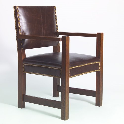 516: GUSTAV STICKLEY Armchair with tacked-on leather se