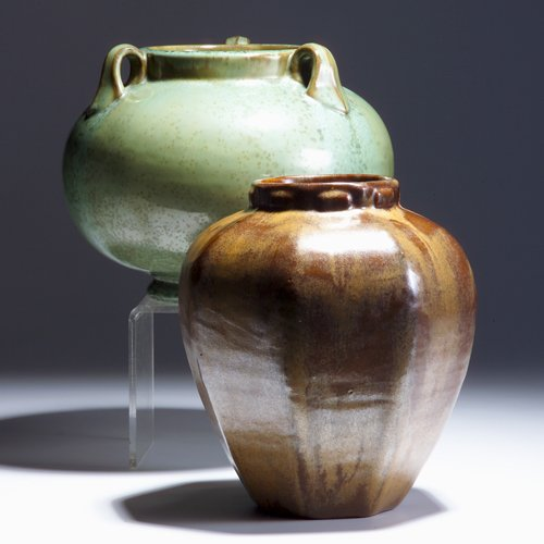 520: FULPER Two vases: one faceted with collared rim co