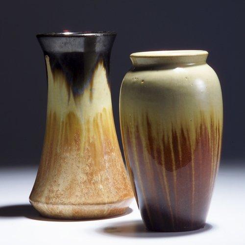 522: FULPER Two vases in ivory and mahogany flambe glaz