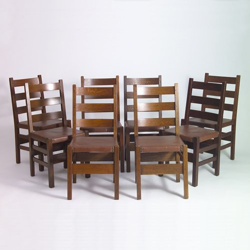 675: GUSTAV STICKLEY Eight dining chairs (no. 306 1/2)