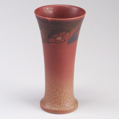 1002: ROOKWOOD Wax Matt flaring vase painted