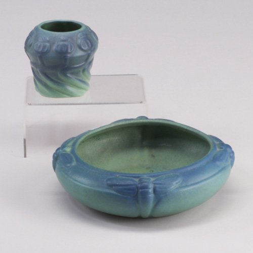 1012: Two VAN BRIGGLE pieces: a low bowl embo