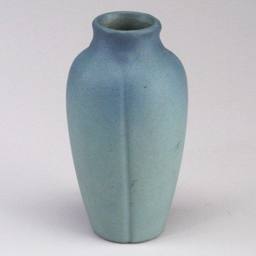 1018: Early VAN BRIGGLE vase embossed with da