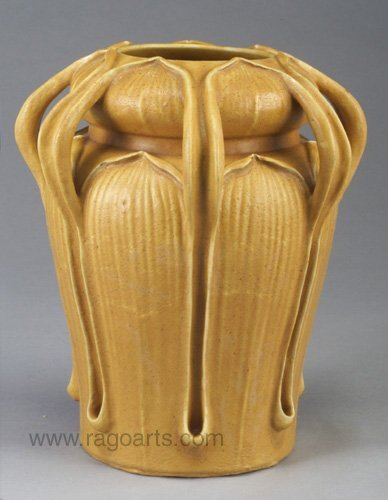 1: Exceptional GRUEBY Kendrick vase with seve