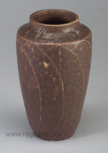 3: Fine GRUEBY vase by Marie Seaman with appl