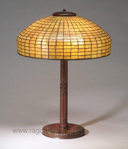 8: Fine TIFFANY bronze table lamp with a Sece