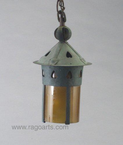 17: GUSTAV STICKLEY hanging lantern with a fl