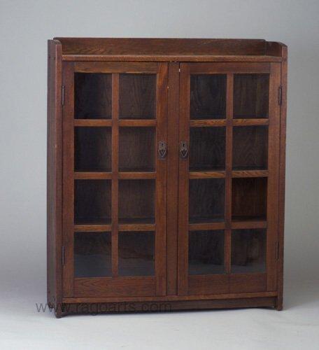 481: GUSTAV STICKLEY two-door bookcase with g