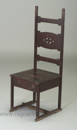 492: Fine ROHLFS high-back hall chair with cu