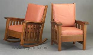 493: Over-sized HARDEN armchair and rocker wi