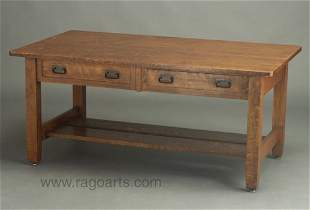 494: STICKLEY BROTHERS two-drawer library tab