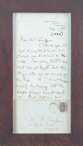 162: WILLIAM MORRIS Framed personal letter and envelope