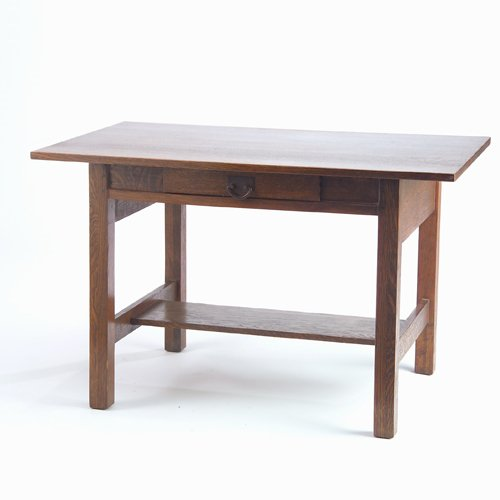 501: GUSTAV STICKLEY Library table with single drawer a