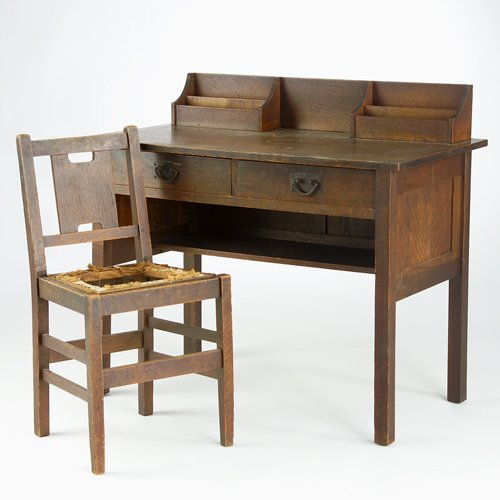 503: GUSTAV STICKLEY Postcard desk with two drawers, le