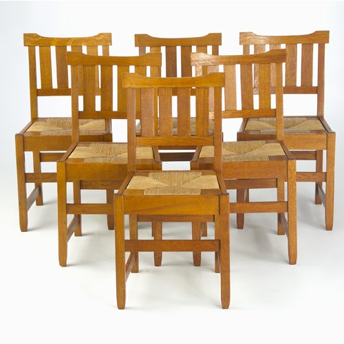 504: GUSTAV STICKLEY Set of six early side chairs with