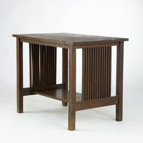 506: GUSTAV STICKLEY Library table with spindled sides