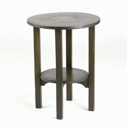 514: GUSTAV STICKLEY Tea table with circular top and sh