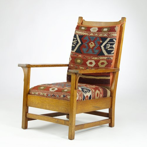 516: GUSTAV STICKLEY Large armchair with scooped crestr