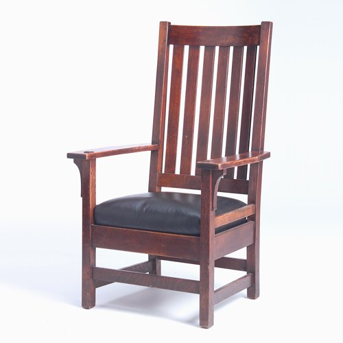 518: L. & J.G. STICKLEY Tall-back armchair with six ver
