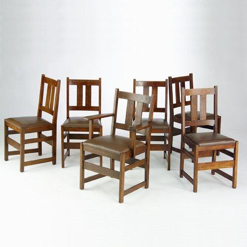 519: L. & J.G. STICKLEY Assembled set of six dining cha