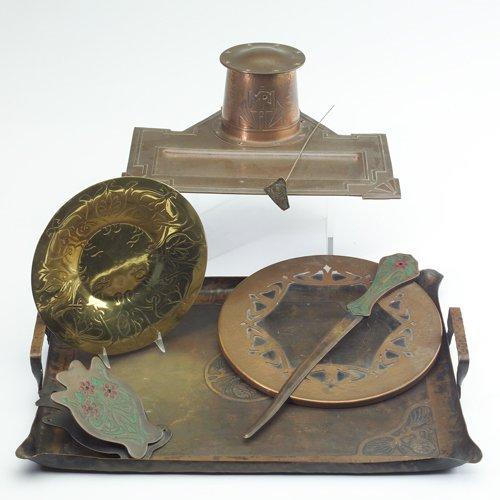 781: ART CRAFTS SHOP/JARVIE, etc. Seven metal items: Bu
