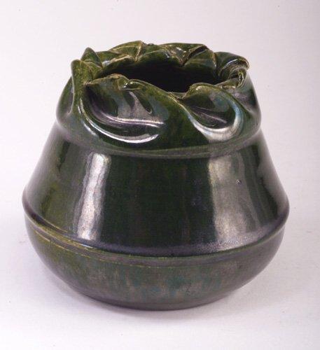 13: GEORGE OHR bulbous vase with folded rim c