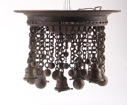 68: TIFFANY STUDIOS bronze light fixture with