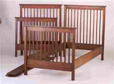 608: BROOKS Pair of twin-sized spindled beds.