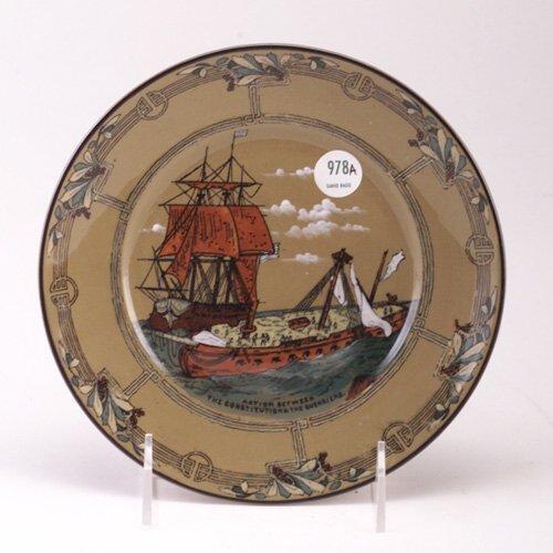 """978A: BUFFALO POTTERY Deldare ware plate, """"Ac"""