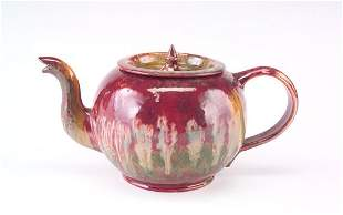 GEORGE OHR Exceptional and large tea pot with a squ