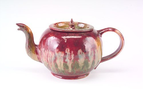 14: GEORGE OHR Exceptional and large tea pot with a squ