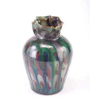 GEORGE OHR Fine bulbous vase with pinched and coll