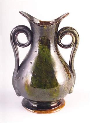 GEORGE OHR Fine, early and large corseted vase with