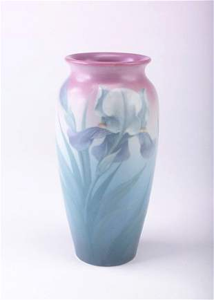 ROOKWOOD Exceptional Vellum vase painted by Carl Sc