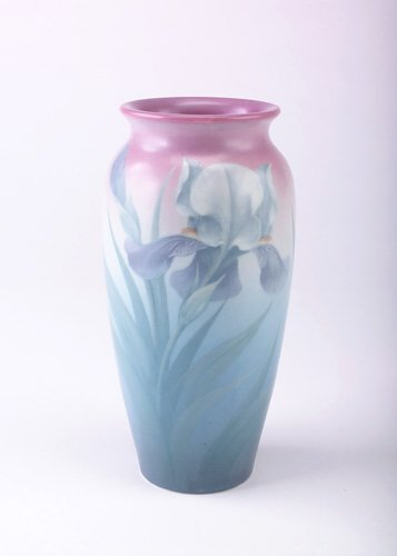 18: ROOKWOOD Exceptional Vellum vase painted by Carl Sc