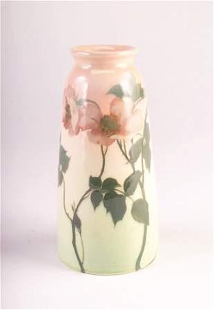 ROOKWOOD Iris glaze tapering vase painted by Ed Die