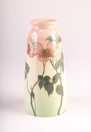 20: ROOKWOOD Iris glaze tapering vase painted by Ed Die