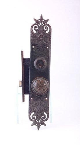 118: LOUIS SULLIVAN Bronze door knob, backplate and loc