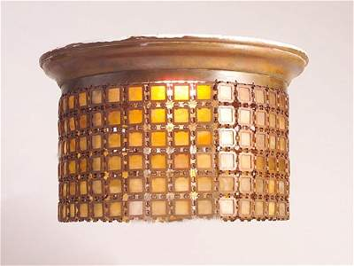 136: TIFFANY Hanging bronze chandelier with mesh shade