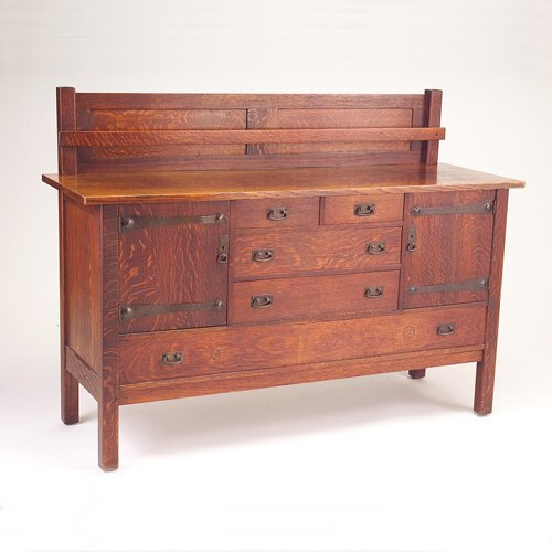 635: L. & J.G. STICKLEY Sideboard with plate rail, two